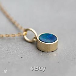 14K Yellow Gold Round Australian Doublet Black Opal Pendant Necklace Xmas Gift