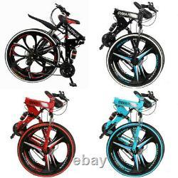 26 Folding Mountain Bike/Full Suspension 21 Speed Bicycle Disc Brakes Xmas Gift