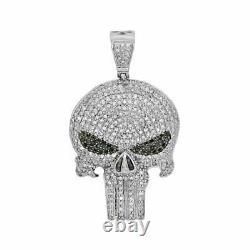 2Ct Black & White Sim Diamond Mens Skull Pendant Free Gift Stud Christmas Silver