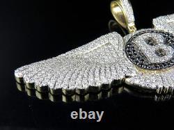 2ct Black & White Sim Diamond Mens Bentley Wing Pendant Free Gift Stud Christmas