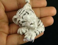 3CT Black & White Sim Diamond Mens Tiger Pendant Free Gift For Christmas Silver