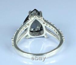5.29 Ct AAA Quality Black Diamond Solitaire With Accents Ring Christmas Gift