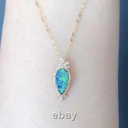 Australia Black Opal diamond pendant K yellow gold Christmas New Year Gift