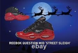 BELOW RETAIL Christmas Sleigh Reebok Question Sz 10.5 Bred Black Red Gift G57551