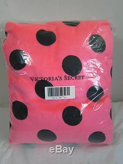 BIG Victoria Secret Pink BLACK POLKA DOT SHERPA FAUX FUR SOFT PLUSH DORM BLANKET