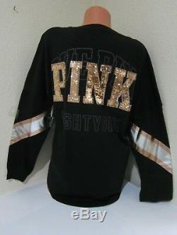 BLING LOT Victoria Secret Pink Sequin Gold V NECK TEE T SHIRT LEGGING PANT SET L