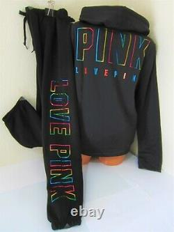 BLING Victoria Secret Pink RAINBOW BLACK HOODIE SWEAT SHIRT CLASSIC PANT XL SET