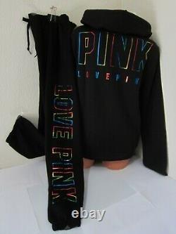 BLING Victoria Secret Pink RAINBOW BLACK HOODIE SWEAT SHIRT CLASSIC PANT XL SET