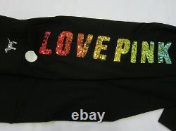 BLING Victoria Secret Pink RAINBOW Sequin BLACK TEE SHIRT L + M LEGGING PANT SET