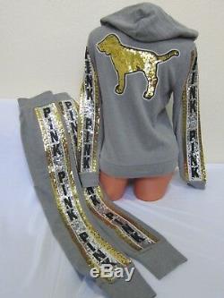 BLING Victoria Secret Pink SEQUIN DOG GRAY GOLD SILVER HOODIE JOGGER PANTS SET L