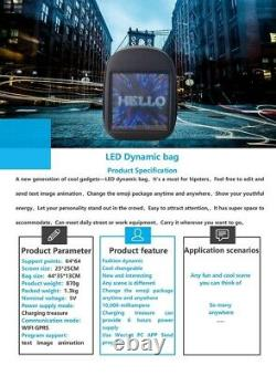 Backpack Smart LED Screen Dynamic WIFI Light City Advertising Travel xmas gift