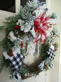 Black Buffalo Plaid Mittens Christmas Snow Winter Wreath Red Berries Cones Bow