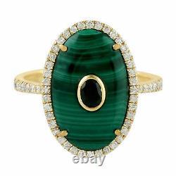 Black Spinel 0.43ct Pave Diamond 18k Yellow Gold Malachite Cocktail Ring Gift