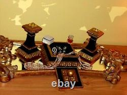 CHRISTMAS GIFT! GORGEOUS French Royal Candle Holder Jewelry Box Black Gold Gild