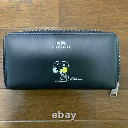 COACH x PEANUTS Snoopy Woodstock BLACK Leather Zip Long Wallet Xmas Holiday Gift