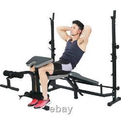 Christmas Gift Weight Bench Set Adjustable Press Lifting Barbell Exercise Workou