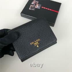 Christmas gift Prada tri-fold wallet Black Unisex