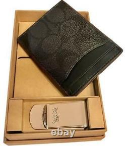 Coach Card Case Wallet Money Clip Men's Valentines Birthday Holiday BOX GIFT SET