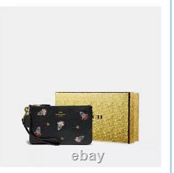 Coach Shark Sharky Leather Wristlet Purse Black Bag Christmas Bell Gift Boxed