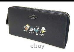 Coach Snoopy Peanuts Black Leather Accordion Zip Wallet With BoX Xmas Gift JP New