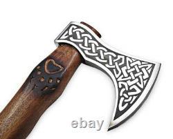 Custom Handmade Corbon Steel Celtic Viking Axe (perfect Christmas Gift For Him)