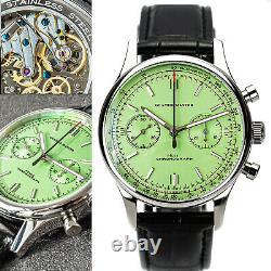 GLAMOR MASTER 40mm SWAN NECK Chrono Mechanical MENS Watch SEAGULL 1963 GREEN