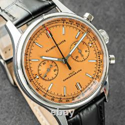 GLAMOR MASTER 40mm SWAN NECK Chrono Mechanical MENS Watch SEAGULL 1963 ORANGE