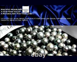 Genuine Tahitian Diamond Black Pearl Pendant 12mm Pacific Pearls Christmas Gift