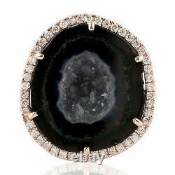 Geode Gemstone Ring Pave Diamond 18k Rose Gold Handmade Jewelry Xmas Gift