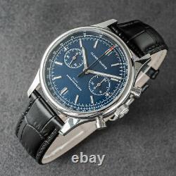 Glamor Master 40mm SWAN NECK Chronograph Mechanical Watch SEAGULL 1963 BLUE
