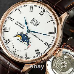 Glamor Master 41mm Enamel 29½ Moon Phase Mechanical Watch Seagull 1963 Rose Gold