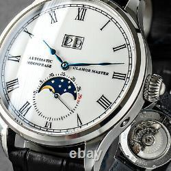 Glamor Master 41mm Enamel 29½ Moon Phase Mechanical Watch Seagull 1963 Silver