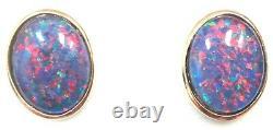 Good Christmas Gift! Natural Black Triplet Opal Earring 10x8mm JEWELLERY Box