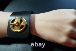 Gucci Gold & Black Leather Twist Lock Cuff Bracelet. Sz 16. Christmas Gift