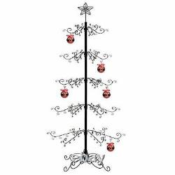 HOHIYA Ornament Display Stand Tree Wrought Iron Christmas Gift 84inch (Black)