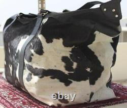 Holiday winter Christmas gift sale cow leather travel duffle outdoor bag