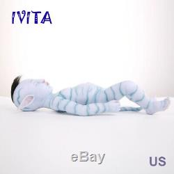 IVITA 20'' Avatar Fairy Baby Girl Black Hair Reborn Silicone Doll Kid Xmas Gift