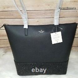 Kate Spade Penny Greta Glitter Holiday Tote Black Shoulder Bag Christmas Gift