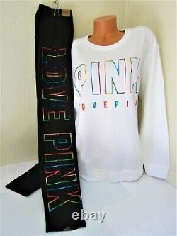 LOT BLING Victoria Secret Pink RAINBOW CREW SWEAT SHIRT Foil LEGGING PANT L SET