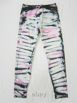 LOT Victoria Secret Pink BAMBOO TIE DYE BLACK LOGO HOODIE SWEAT SHIRT PANT M SET