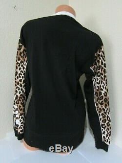 LOT Victoria Secret Pink Leopard Black CAMPUS TEE SHIRT SKINNY JOGGER PANT SET M