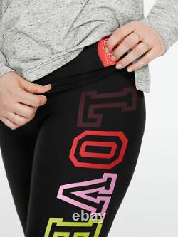 LOT Victoria Secret Pink NEON RAINBOW OMBRE BLACK TEE SHIRT LEGGING PANT XL SET