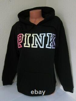LOT Victoria Secret Pink RAINBOW BLACK PULLOVER HOODIE SWEATSHIRT L PANT XL SET