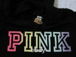LOT Victoria Secret Pink RAINBOW PULLOVER HOODIE SWEATSHIRT BOYFRIEND PANT L SET