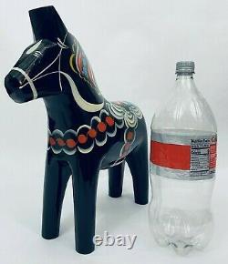 Large 15 x 15 Dala Horse Black Grannas Olsson Swedish Folk Art Christmas Gift