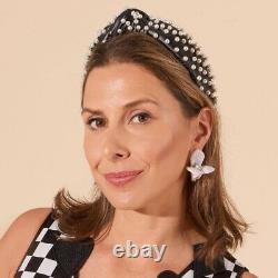 Lele Sadoughi Jet Black Faux Hand Knotted Leather Pearl Headband NWT Gift XMAS