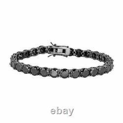 Men's Christmas Gift Round Black Diamond Tennis Bracelet 7 14k Black Gold Fin