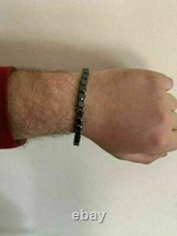 Men's Christmas Gift Round Black diamond Tennis Bracelet 8 14k Black Gold Over