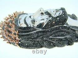 Men's Jesus Face 4 ct Black Sim Diamond Silver Pendant Free Gift Stud Christmas