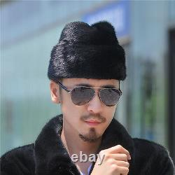 Men's Russian President Special Gift Christmas Trapper Genuine Mink Fur Warm Hat